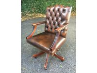 Gainsborough / Chesterfield Vintage Swivel Office Chair Antique Brown Leather
