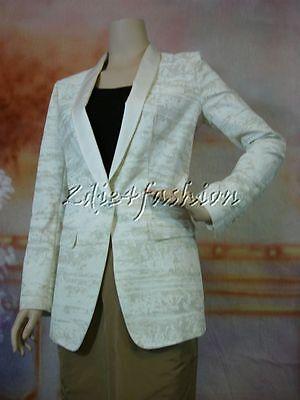$2765 New DOLCE & GABBANA Cream White Textured Cotton Silk Blazer Jacket 8 42