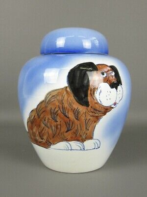 Vase Decorative IN Ceramic Painted Container With Figure and Dog Moon