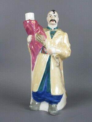 Vintage Bottle Vase Figure Statue Man Ceramics Painted Xx Century