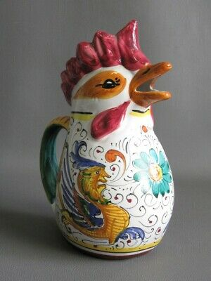 Vintage Pitcher Vase Majolica Shape Rooster Hand Painted Xx Century