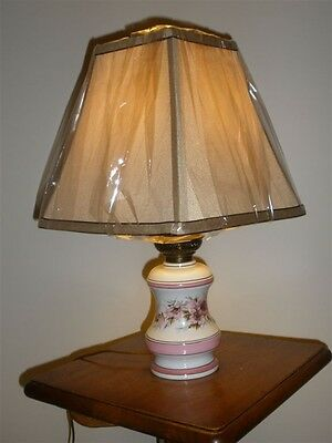 French Limoges Porcelain Table Lamp in Wild Rose Decor - French Table Decorations