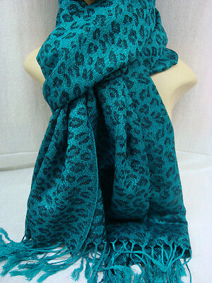 LEOPARD PRINT PASHMINA CASHMERE SCARF SHAWL WRAP STOLE ALL SEASON COLOR TEAL
