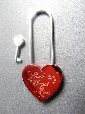 Liebesschloss rot metallic 1seitige Gravur, mit  Namen und Datum,