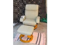 Scotts &Co Genuine Leather Chair with Massage Option and Matching Footstool