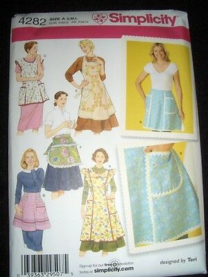 5 Vintage Aprons New Simplicity 4282 Pattern Sizes 10-20