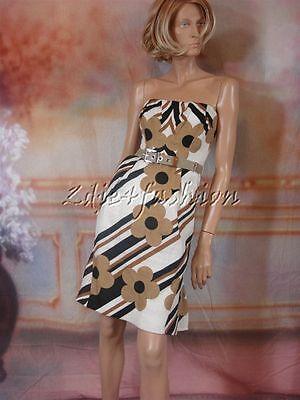 $3595 New DOLCE & GABBANA Tan Black Off White Floral Linen Linen Dress 38 4