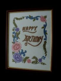 HAPPY BIRTHDAY EMBROIDERY ARTWORK PICTURE FRAMED WALL HANGING FROM