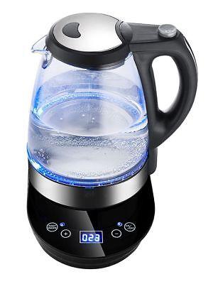 1,7L 2200 Watt Glas Wasserkocher Temperaturwahl Teekocher mit LED 360° Touch Neu