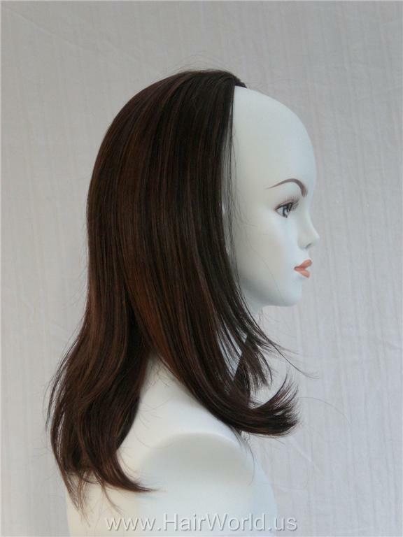 "19"" Long Brown Bob Style Fall Hairpiece- Dorothy Hairdo"