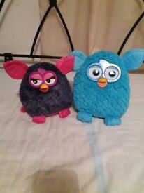 Blue and Purple FURBY soft toys