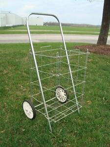 Vintage 1960's Laundry / Grocery Two Wheeled Cart -Perfect Shape