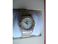 Omega Constellation Ladies Watch, Diamond Bezel, Mother of Pearl Face & Diamonds