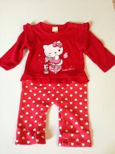 NEW Baby Toddler Girls Clothes Jumpsuit Romper One Piece HELLO KITTY Size 00,0,1