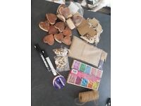craft hearts, wooden pegs and other bits