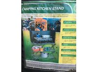 Camping cooker kitchen stand