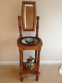 Mexican Pine Washstand with Colourful Jug and Basin