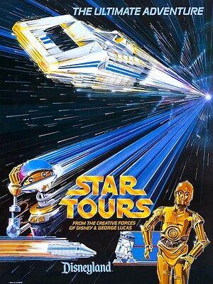 "Star Wars ""Star Tours"" Disneyland 1986 POSTER Rare C-3PO"