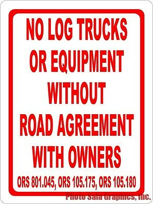 No Log Trucks Or Equipment Without Road Agreement Sign  Size Options  Logging