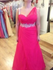 Pink prom dress one-shoulder with beautiful beading around waist size 12-14