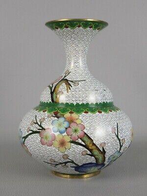 Vintage Jar Eastern Enamelled Cloisonne 'Blossom on background White Xx Century