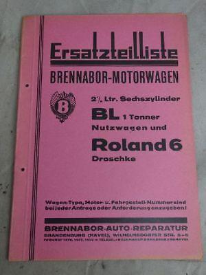 Umkarton Ersatzteilliste Brennabor Motorwagen BL Roland 6 Droschke Oldtimer