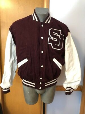 DeLong Wool Snap Button Letterman Varsity Large Jacket Coat Burgundy/White Varsity Snap