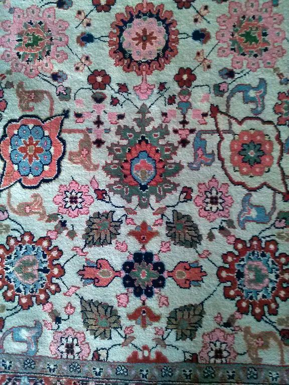 Cream Hand Knotted Oriental Rug Wool pile 8'x10' Benefit American Breast Cancer