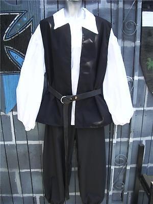 Mens Pirate Renaissance Peasant Costume Shirt Vest Pants 3 Piece - Large](Mens Peasant Costume)