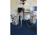 Stunning, Large 5 arm ceiling light, silver with crystal flower design