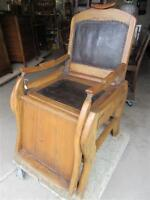 PRE 1870 ALL WOOD BARBERS CHAIR FROM UNCLES ESTATE