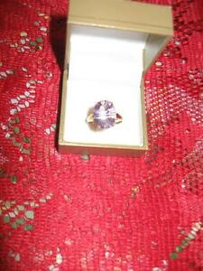 10 K Gold - Pink Amethyst Ring – size 10