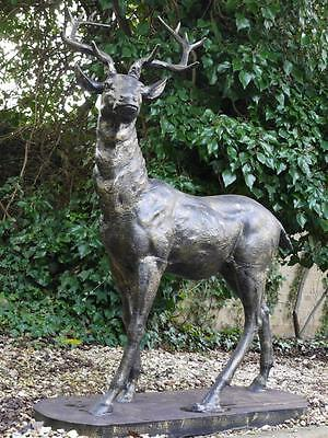 LARGE LIFESIZE CAST IRON STANDING STAG DEER BRONZE ANIMAL STATUE GARDEN ORNAMENT