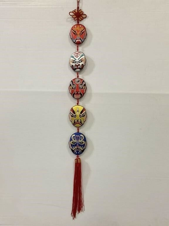 Traditional Chinese Opera Masks Embroidered Art Piece Wall Hanging