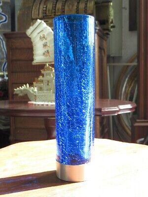 Vintage Vase Modernist Glass Blue Tempered with Base Silver 800