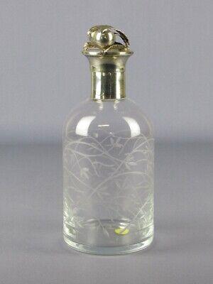 Vintage Precioso Botella de Cristal Grabado E Plata 800 Contrastados