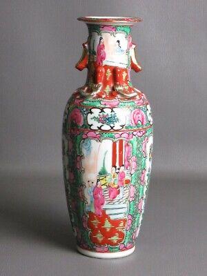 Hong Kong Vintage Vase Eastern Porcelain Painted Handles Golden Xx Century