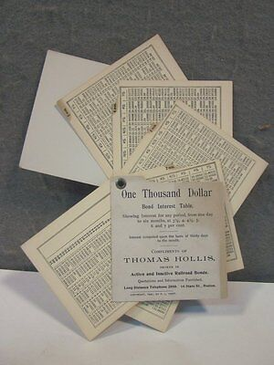 VINTAGE 1897 RAILROAD BONDS INTEREST TABLE CALCULATOR ADVERTISING GIVE AWAY