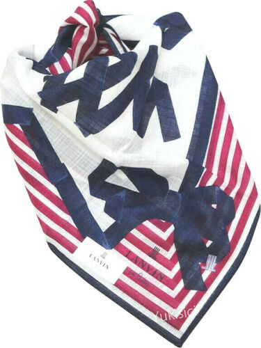 Lanvin en Bleu Japan Cotton Handkerchief Signature Ribbon Logo Print-50cm