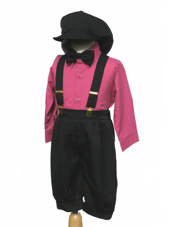 Toddler Boys Classic Knickers Vintage Outfit,  Fuchsia/Black, 18-24 month, 2T,3T