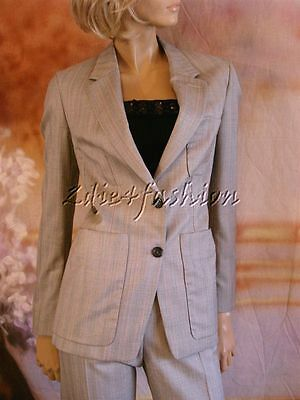 $1690 New YVES SAINT LAURENT YSL Grey Herringbone Pink Stripe Fitted Jacket 8 40
