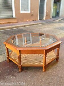"""Table basse octogonale en bois / verre / cannage _ longueur 95 cm - France - Commentaires du vendeur : """"En trs bon état"""" - France"""