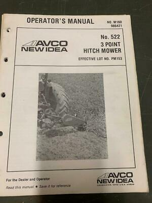 New Idea 3 Point Hitch Mower Owners Manual