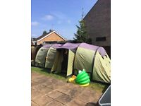 Vango Exodus 800 Airbeam 8 Person Tent with Footprint, Carpet and Side Awning