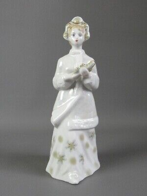 Vintage Statue IN Ceramic Painted Figure Girl With Long Braid Xx Century