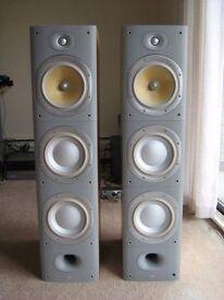 pair of Bowers and Wilkins B&W DM604 S3 floor standing Speakers in Sorrento silver 604 603 605 £600