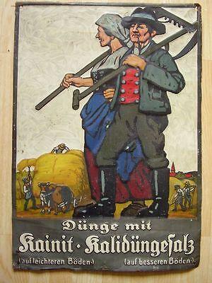 """Antikes Blech Schild """" Kainit Kalidüngesalz """" vor 1945"""