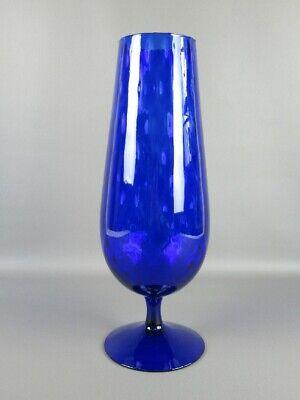 Large Vase Glass Venetian Blue 43CM Stem Glass Decorative Period Xx Century