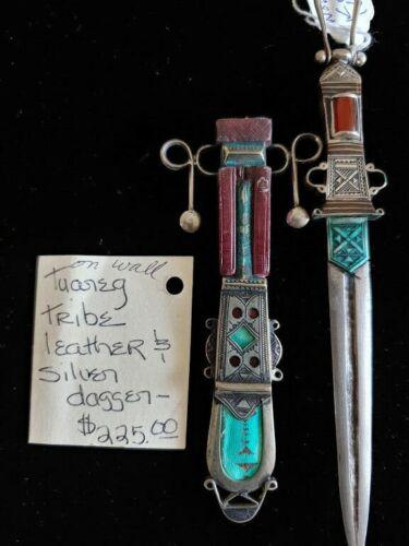 Tuareg Tribe Vintage Leather & Silver Dagger Knife Niger