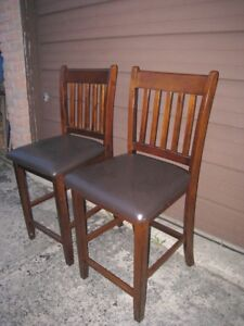 2 Solid Wood (hardwood) with leather seats Bar Stools,very good